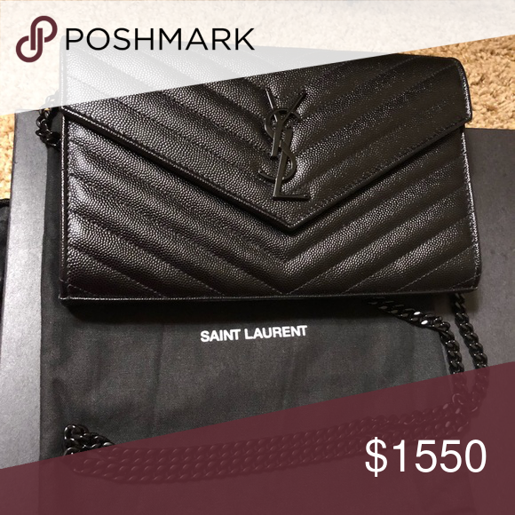 Authentic YSL So Black Wallet On Chain Medium Purchased via Saks Fifth Ave.  comes with 2e20e9bfe423c