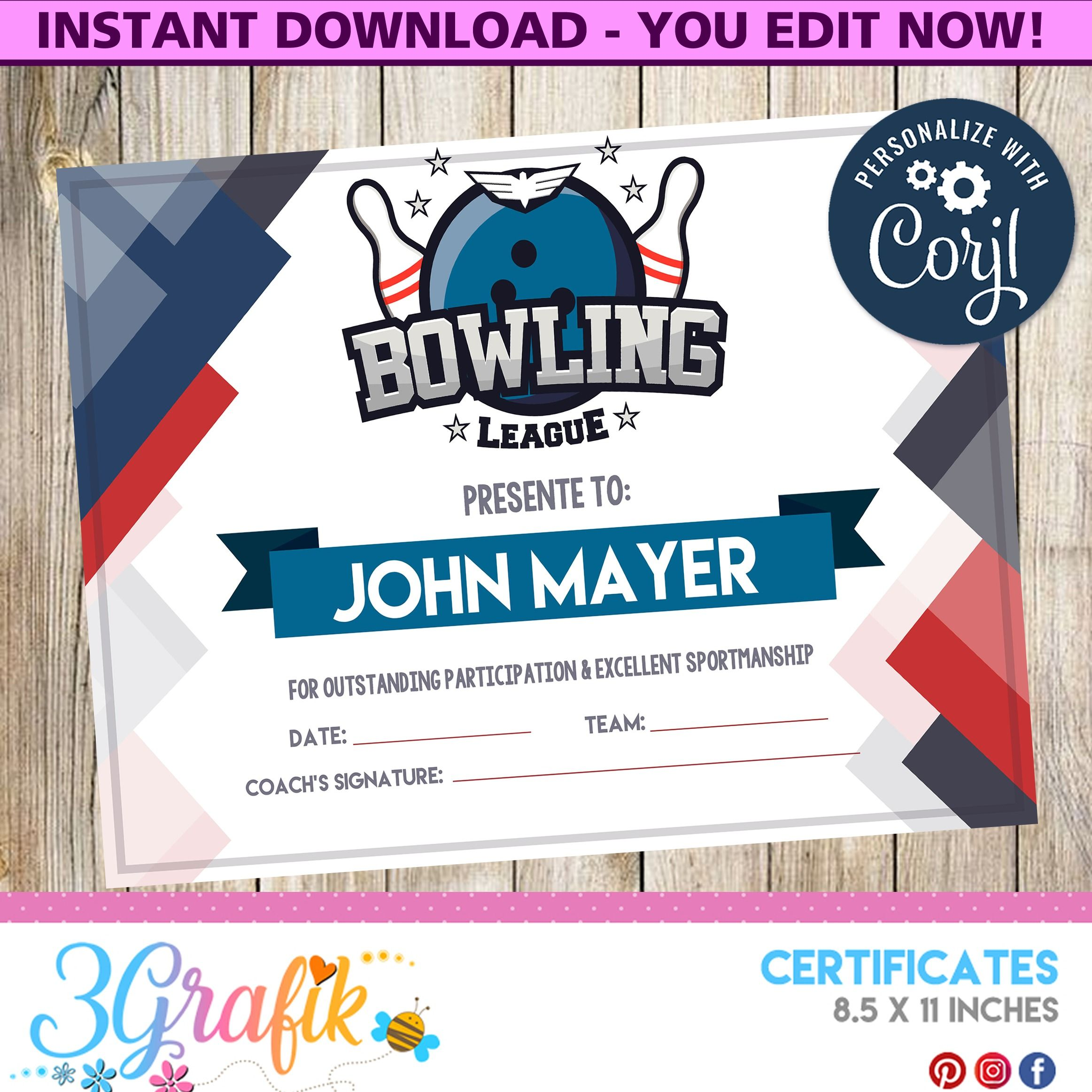 Bowling Certificate Party Supplies Awards In 3grafik Com Certificate Templates Funny Certificates Certificate Of Participation Template