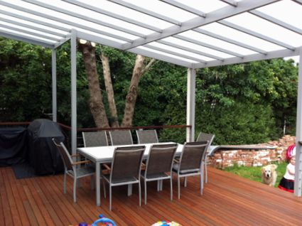 Hardwood Deck With Twin Wall Polycarbonate Roof And Anodised Aluminium Framing Dulwich Sa