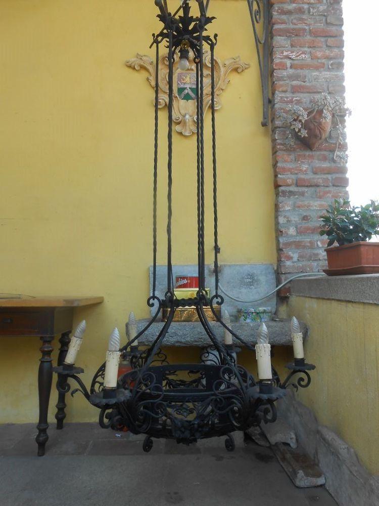 Lampadari In Ferro Battuto Antichi.Dettagli Su Antico Grande Lampadario Liberty Rinascimento In