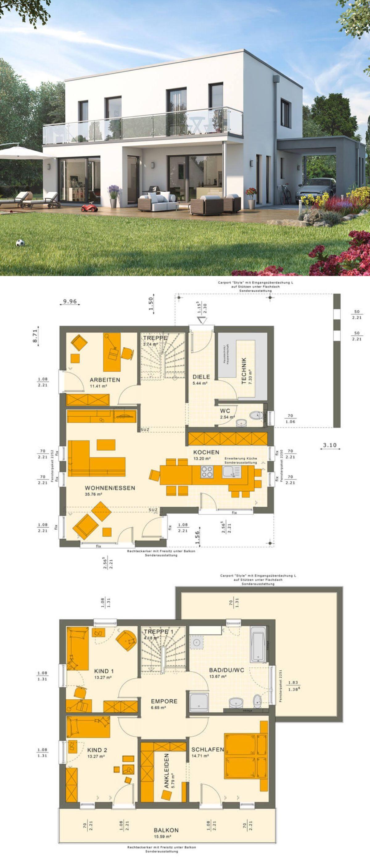 Bauhaus Stadtvilla Modern Mit Flachdach Architektur Wintergarten