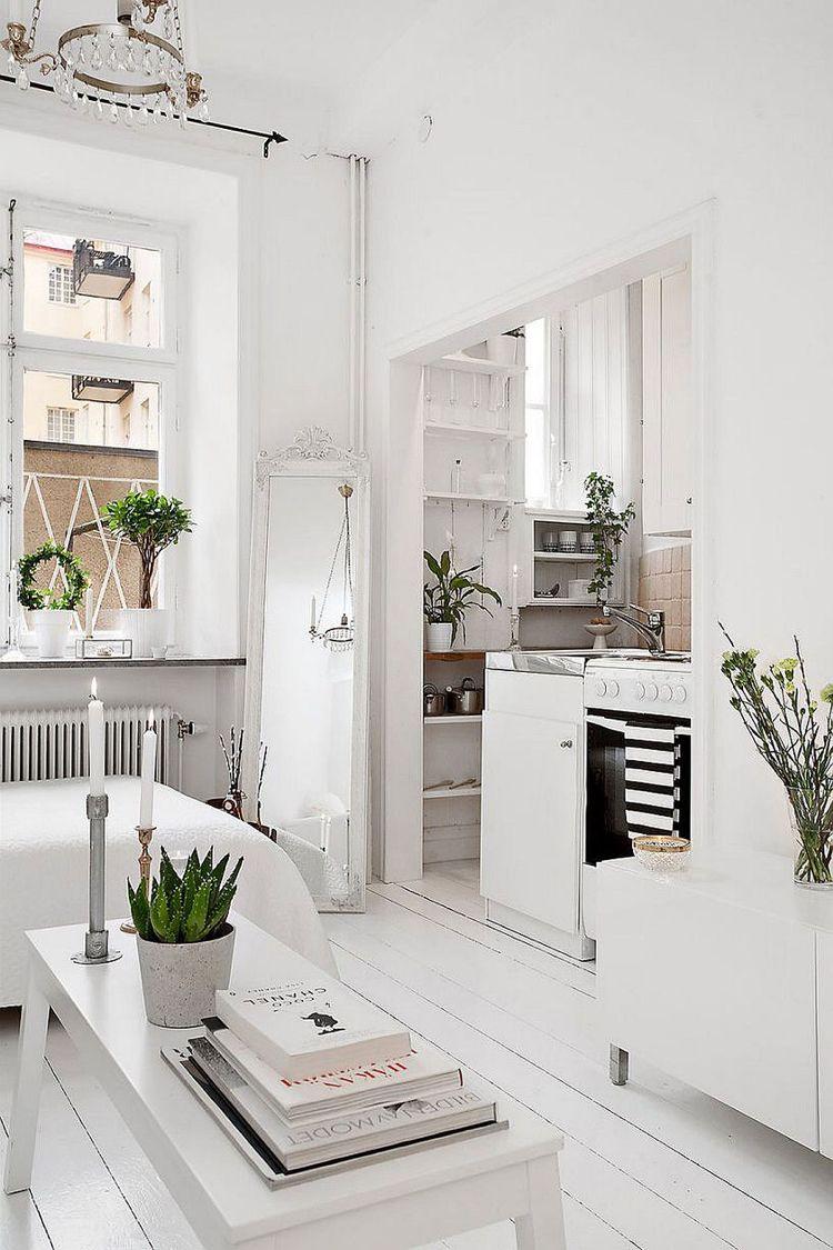 Kleine Wohnung Einrichten Skandinavisch Weiss Nischen Fenster