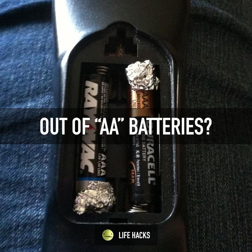 Use Aaa Batteries And Tin Foil On The Positive End Lifehacks Diy