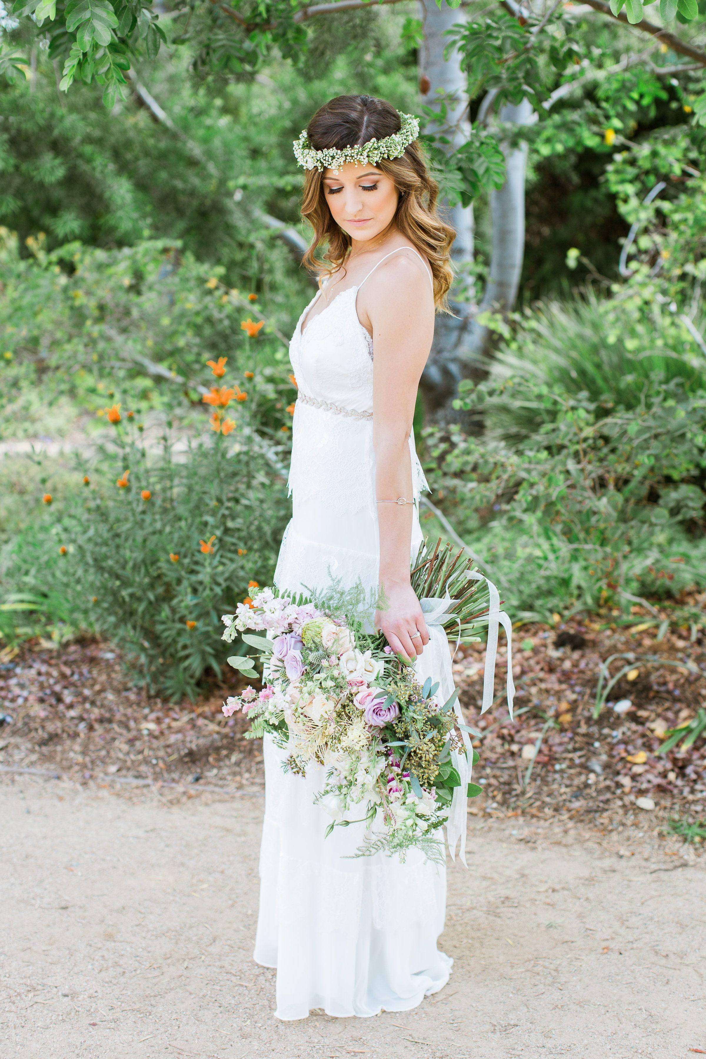 Lavender, blush, peach, and blue San Diego garden style wedding ...