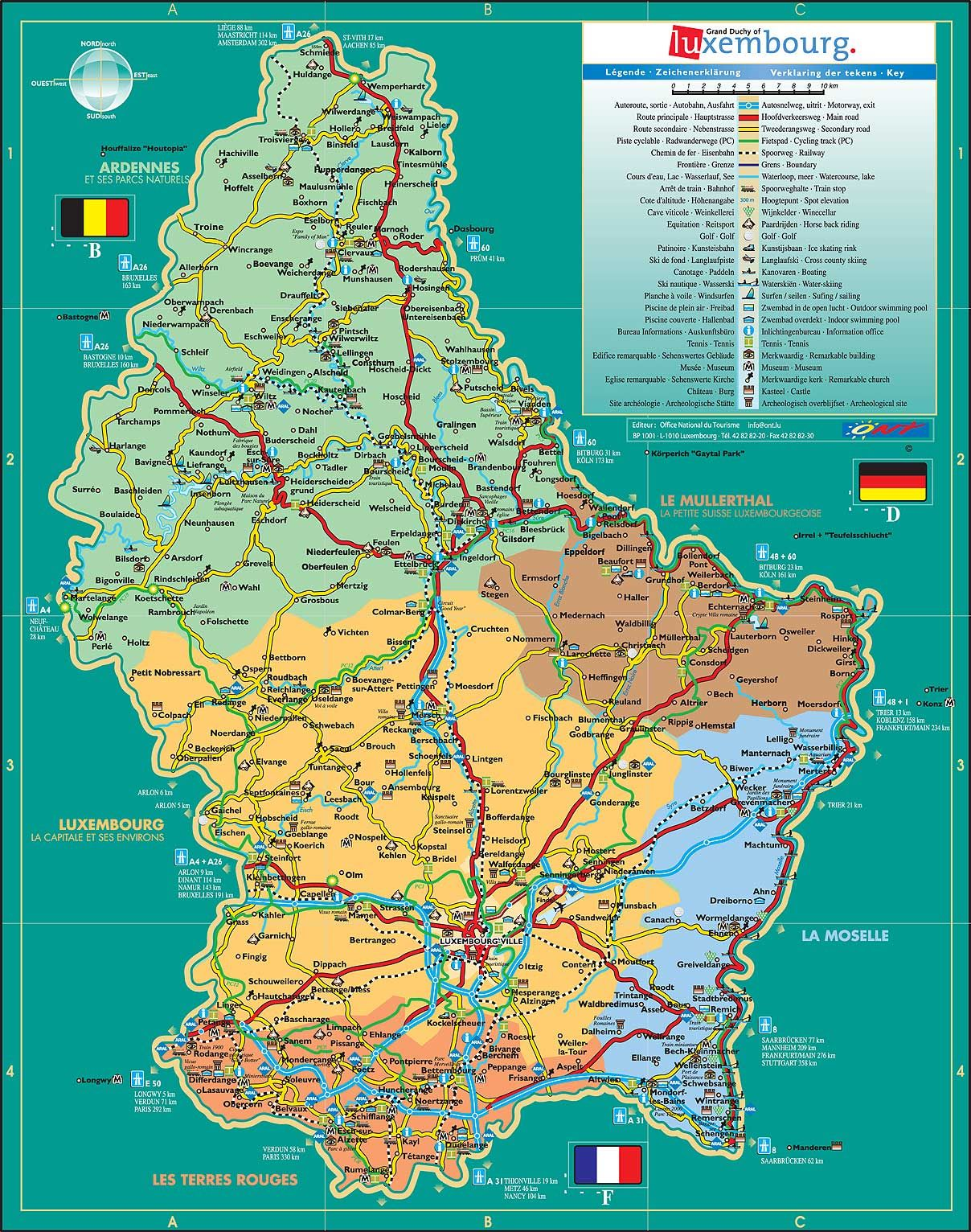 Administrative and road map of Luxembourg LM de P Map Chart