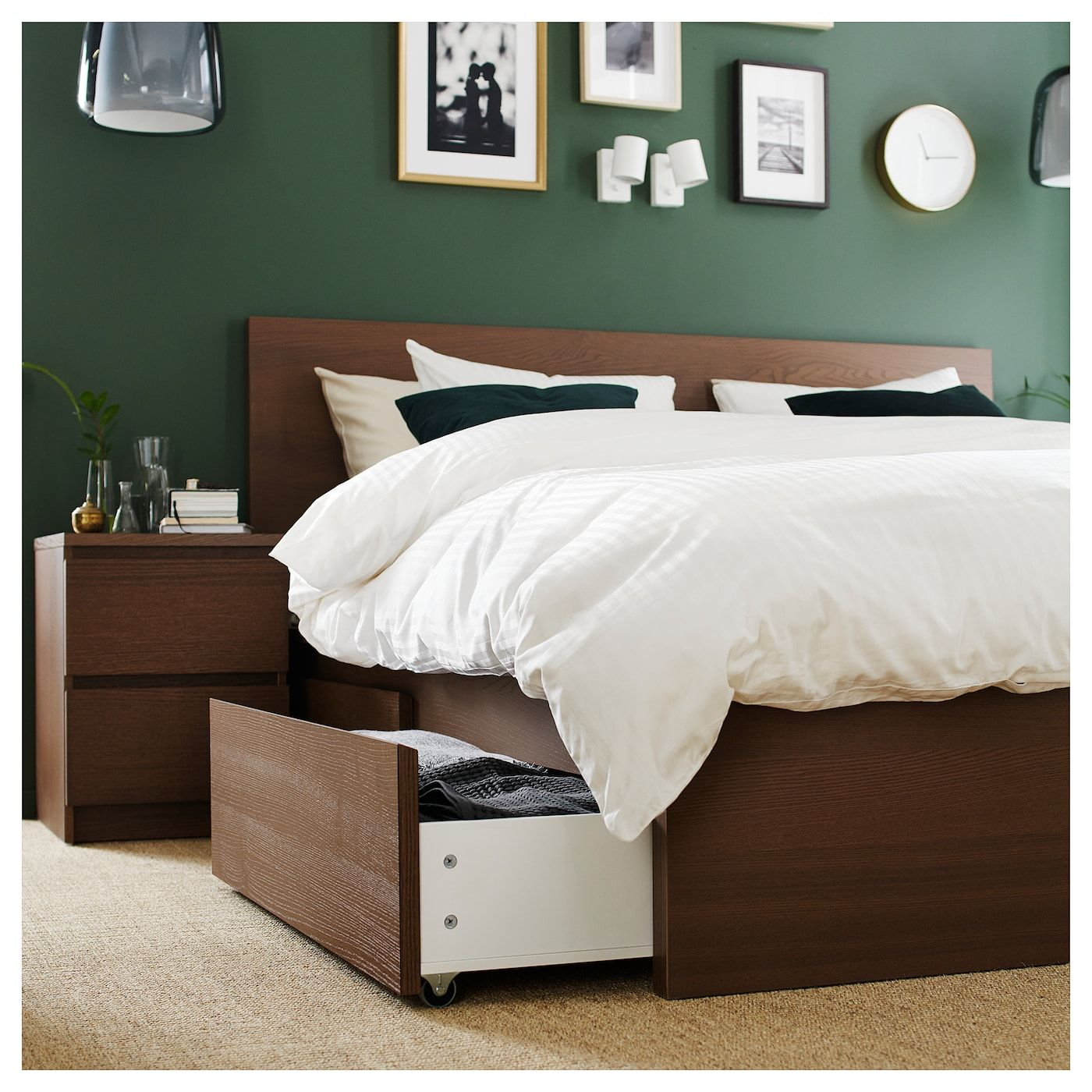 Ikea Malm High Bed Frame 4 Storage Boxes Brown Stained Ash