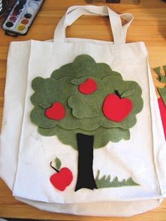 felt embroidery on blank canvas tote