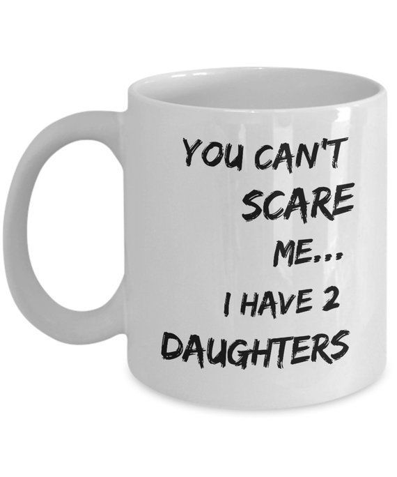 2 Daughters Dad Gift from Daughter Dad of 2 Cute Dad Gift Idea New Dad Mug Dad of Two Coffee Cup Dad Birthday Gift from Daughter 2 Girls Dad - Diy gifts for dad, Dad birthday gift, Gifts for dad, Diy gifts for mom, Christmas gift for dad, Dad mug - Cute and funny gift for your loved one, your recipient will use this unique mug every day by thinking of you  Perfect gift for birthday's or simply to say I LOVE YOU  1  Choose your capacity, standard (11 oz) or big (15 oz) 2  Select your quantity (I can make large orders on demand)  HIGHQUALITY PRODUCT • Printed on both sides with premium class ink, made to last for years • Made of fine white ceramic with a flawless glossy glaze finish • Dishwasher and Microwave Safe • Your satisfaction is guaranteed, love your order or contact me and I'll make it right Production time As your order is specially made for you, please allow 58 business days for production after payment has cleared  Shipping time Once your order is produced, please allow 12 weeks for Standard Shipping in USA and 14 weeks internationally for delivery    IMPORTANT I hope it will never happen, but if you are not entirely happy, please give me the opportunity to make it right before you leave negative feedback  My goal is 100% customer satisfaction  Contact me and I will do everything in my power to correct the situation  YOU NEED PERSONALIZATION  AWESOME! Here are the steps 1  Select  11oz  Personalized  or  15oz  Personalized  in the  Style  box  2  Select the number of people you want to make happy in the  Quantity  box  3  Click on  Add to cart  and tell me at checkout the exact modification you want, it can be a modification of the quote, add a photo, image, text, or the name of your recipient  YOU NEED MORE GIFT IDEAS  > Visit us now at WWW FUNNYGIFTS SHOP to get more awesome gift ideas! All of my funny quotes can be put on a wide range of magnificent products travel mugs, tumblers, shot glasses, pillowcases, tshirts, and for sure coffee mugs! If you don't find the perfect funny gift that you are looking for, let me know and I will make it for you!