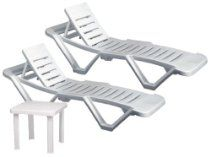Resol Master Polypropylene Plastic White Sun Lounger (Pack of 2) - stylish and durable furniture for your garden