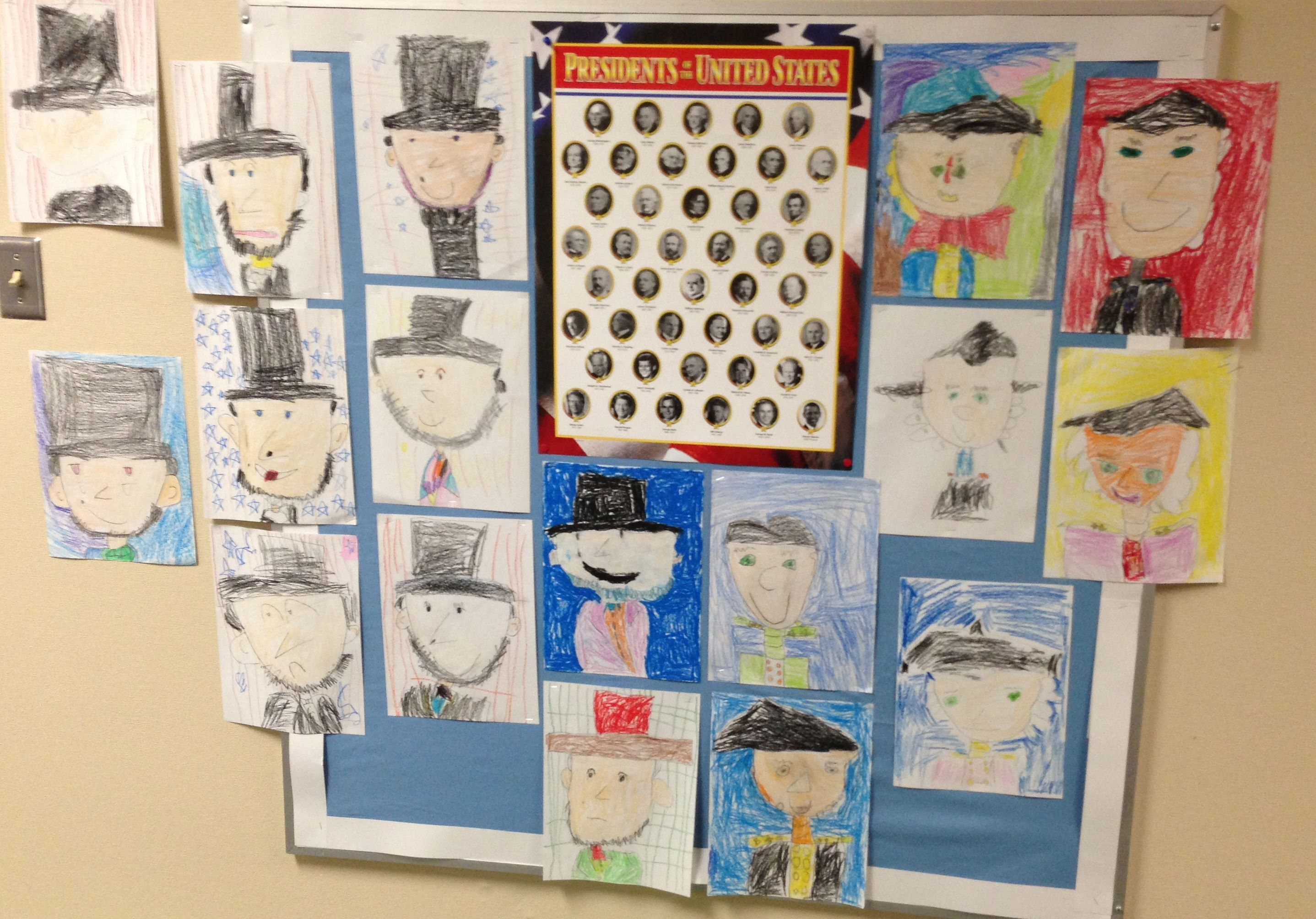 Kindergarten Students Draw Abraham Lincoln And George