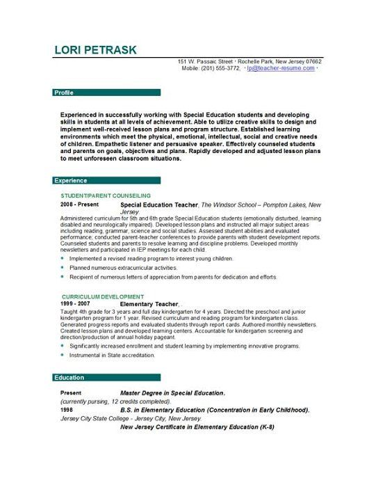 Examples Of Teacher Resumes Teacher Resume Templates Easyjob Teaching Builder Format Examples