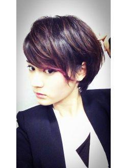 赤メッシュ黒髪ショート【2020】