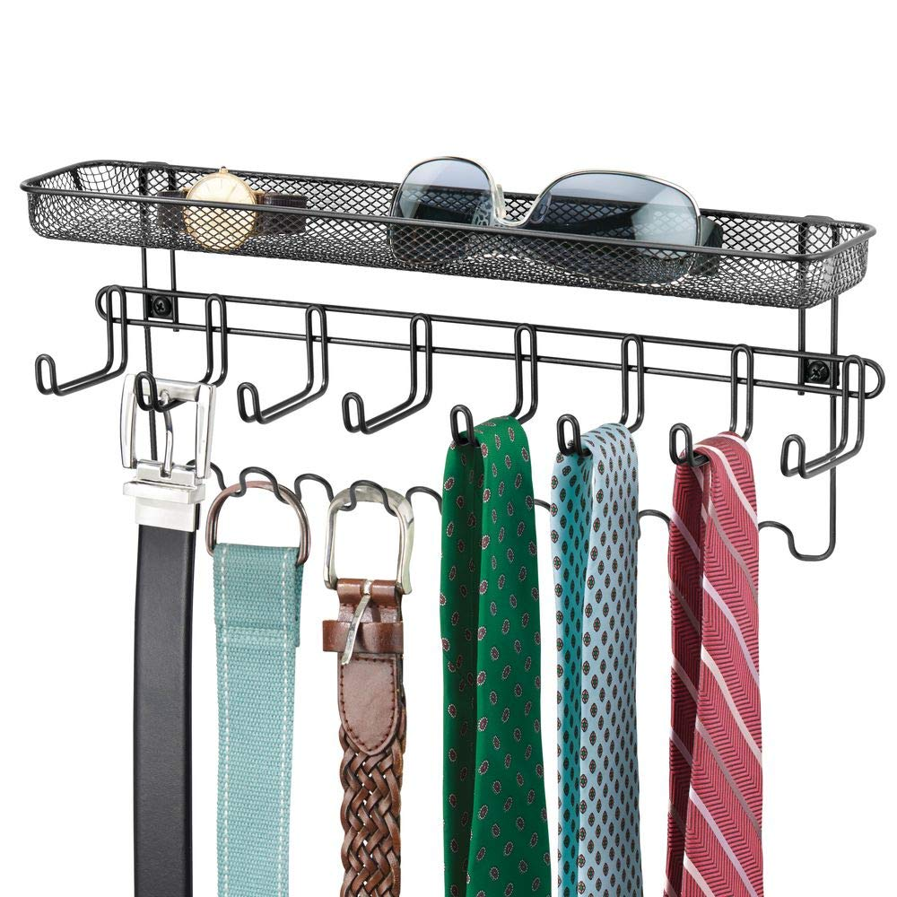 Mdesign Closet Wall Mount Men S Accessory Storage Organizer Rack Holds Belts Neck Ties Watches Change Sunglasses Mdesign Wall Closet Accessories Storage