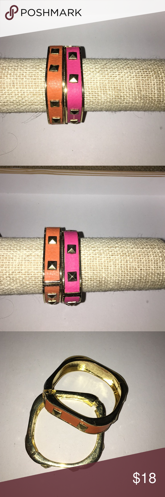 Set of Pink and Orange Bangles Set of Pink and Orange Bangles. Set of two bracelets. Hinge closure. Pink leather with gold stud details. Orange leather with gold stud details. NWOT. Jewelry Bracelets