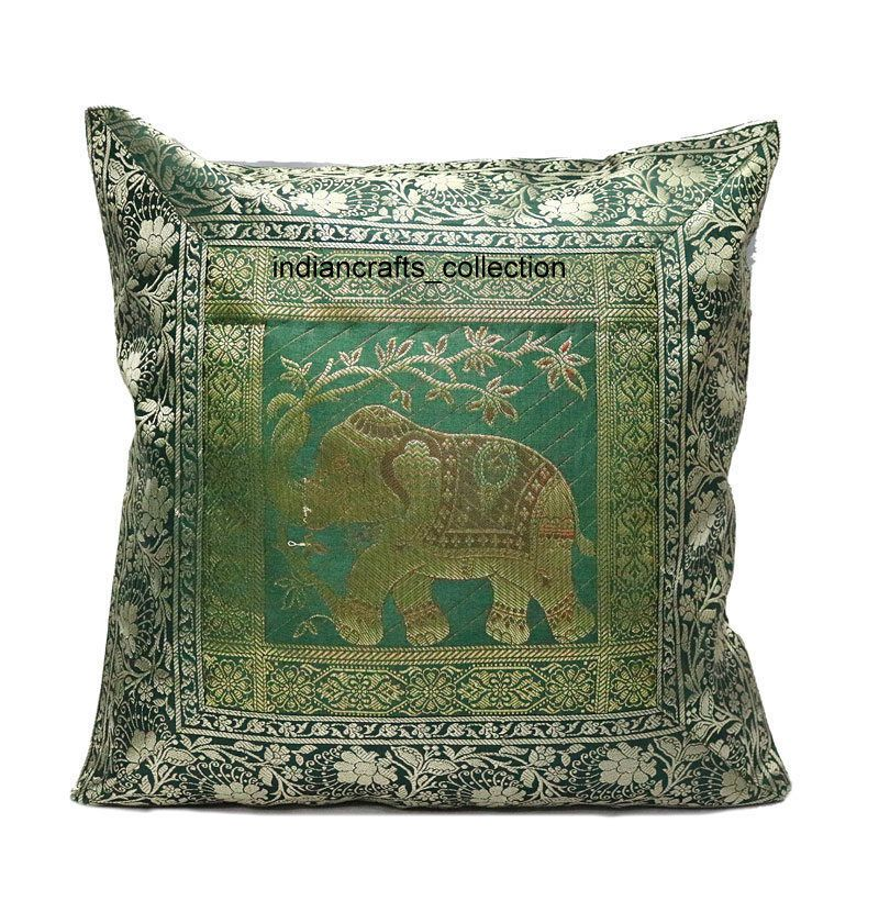 Indian Silk Decor Cushion Cover Handmade Decorative Sofa Brocade Cool Brocade Home Decor Decoration