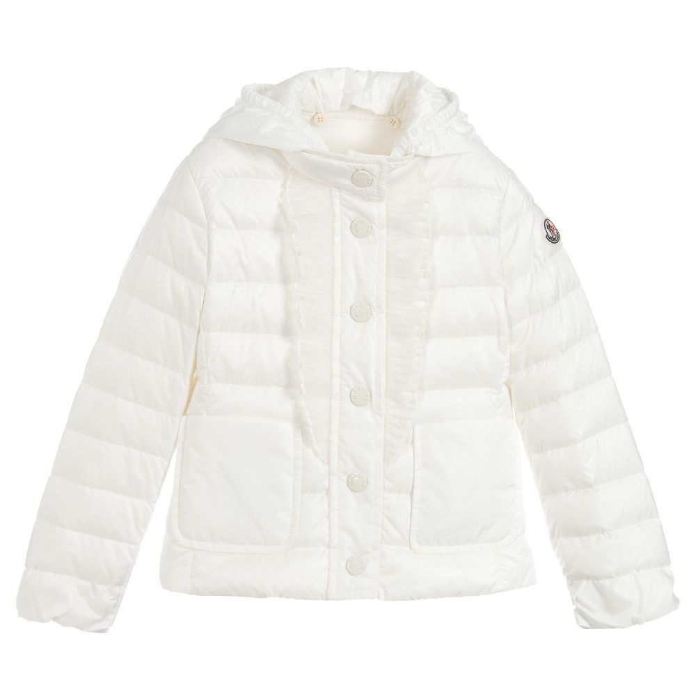 76a71e196 Girls down filled white puffer jacket by luxury brand Moncler, with organza  ruffles on the