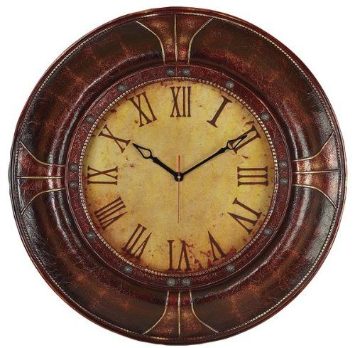 Deco 79 96305 Wood Leather Wall Clock 33 *** You can get additional ...