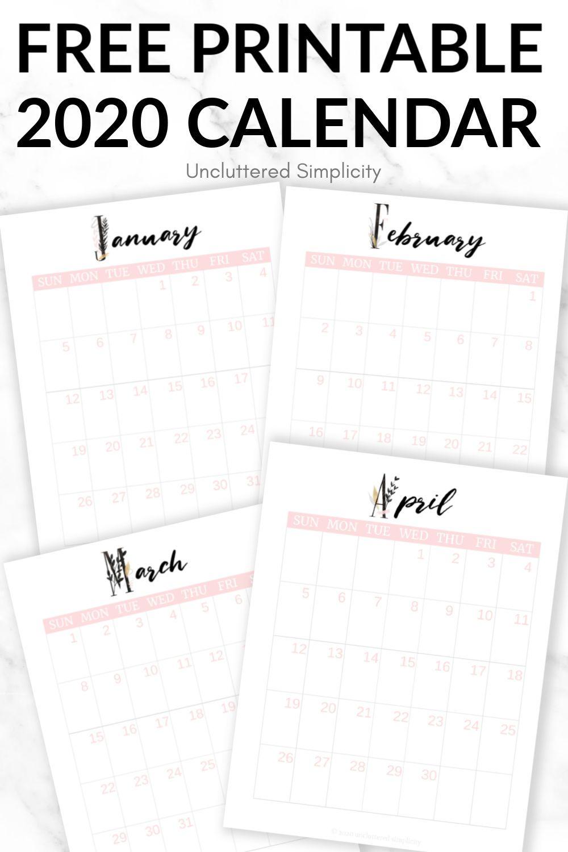 Free 2020 Printable Calendar To Help You Organize Your