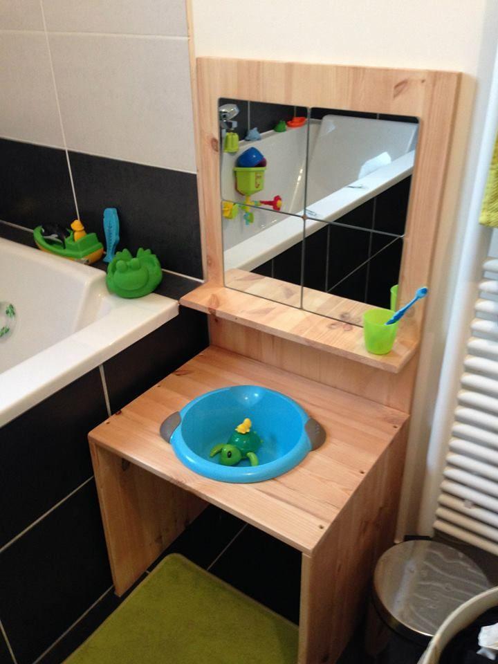Espace salle de bain am nag montessori salle de jeux des enfants pinterest salle salle - Salle de bain bebe ...
