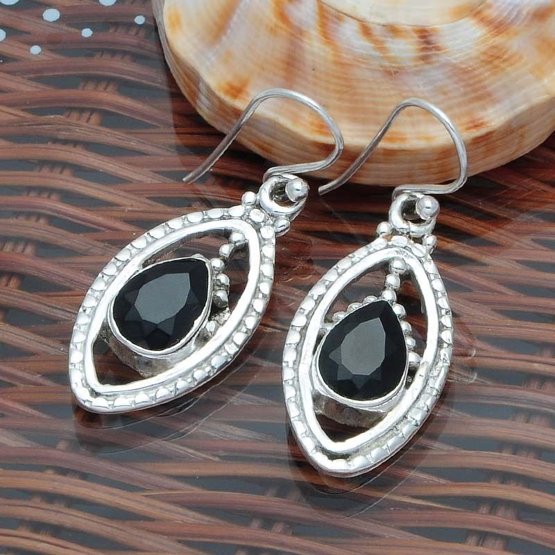 HOT SELLING 925 STERLING SILVER BLACK ONYX EARRING 6.28g DJER1721 #Handmade #EARRING