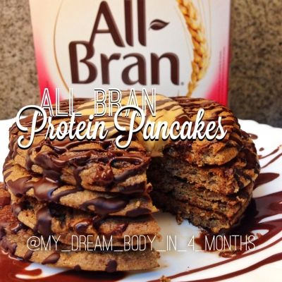 Ripped Recipes - All Bran Protein Pancakes - These are officially the best protein pancakes I've made so far!!! The All Bran not only gives tons of fiber, but also makes them soo light and fluffy :) Anndd lots of volume too!