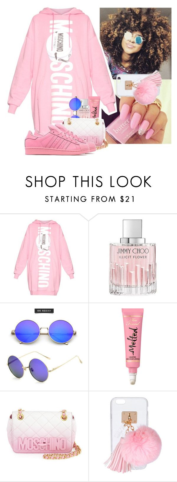 """""""🦄👅🌸"""" by kiatheplugg ❤ liked on Polyvore featuring Moschino, Jimmy Choo, Ashlyn'd and adidas Originals"""