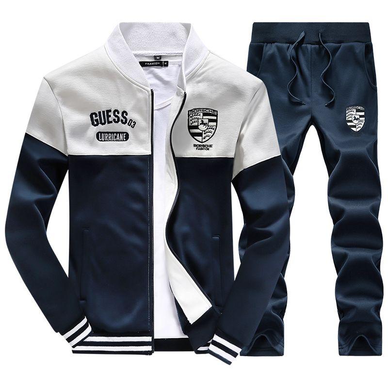 1444b78d185 Homens Sportswear terno 4XL carta bordado treino Sports terno Hoodies gola  de beisebol Sportswear com capuz zipper