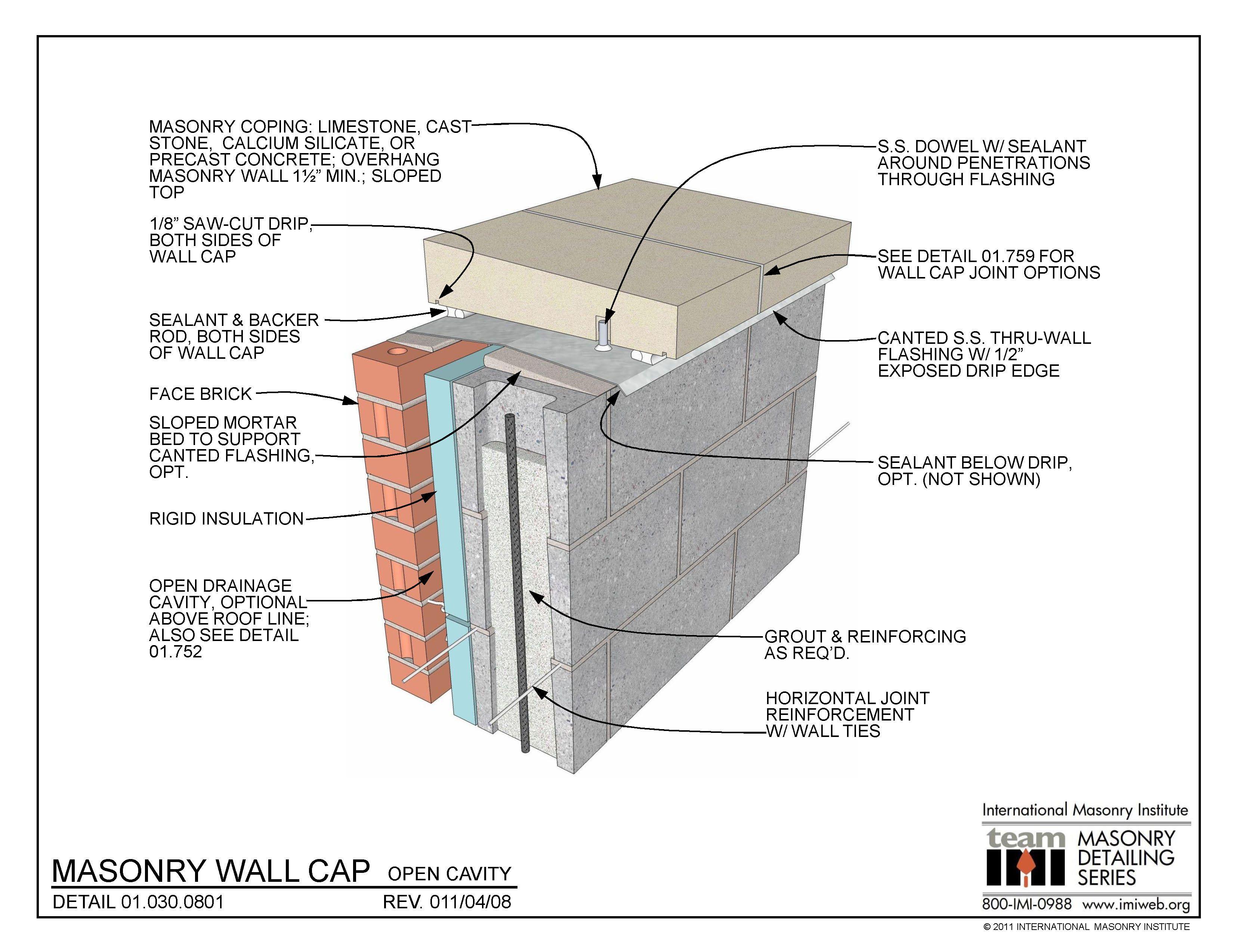 01 030 0801 Masonry Wall Cap Open Cavity International Masonry Institute Masonry Masonry Wall Parapet