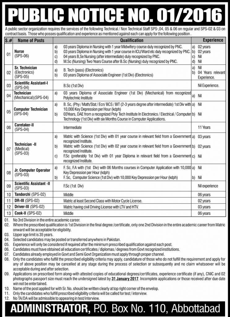PAEC Jobs PO Box 110 Abbottabad Application Form \ Job Ad 8th - job application forms