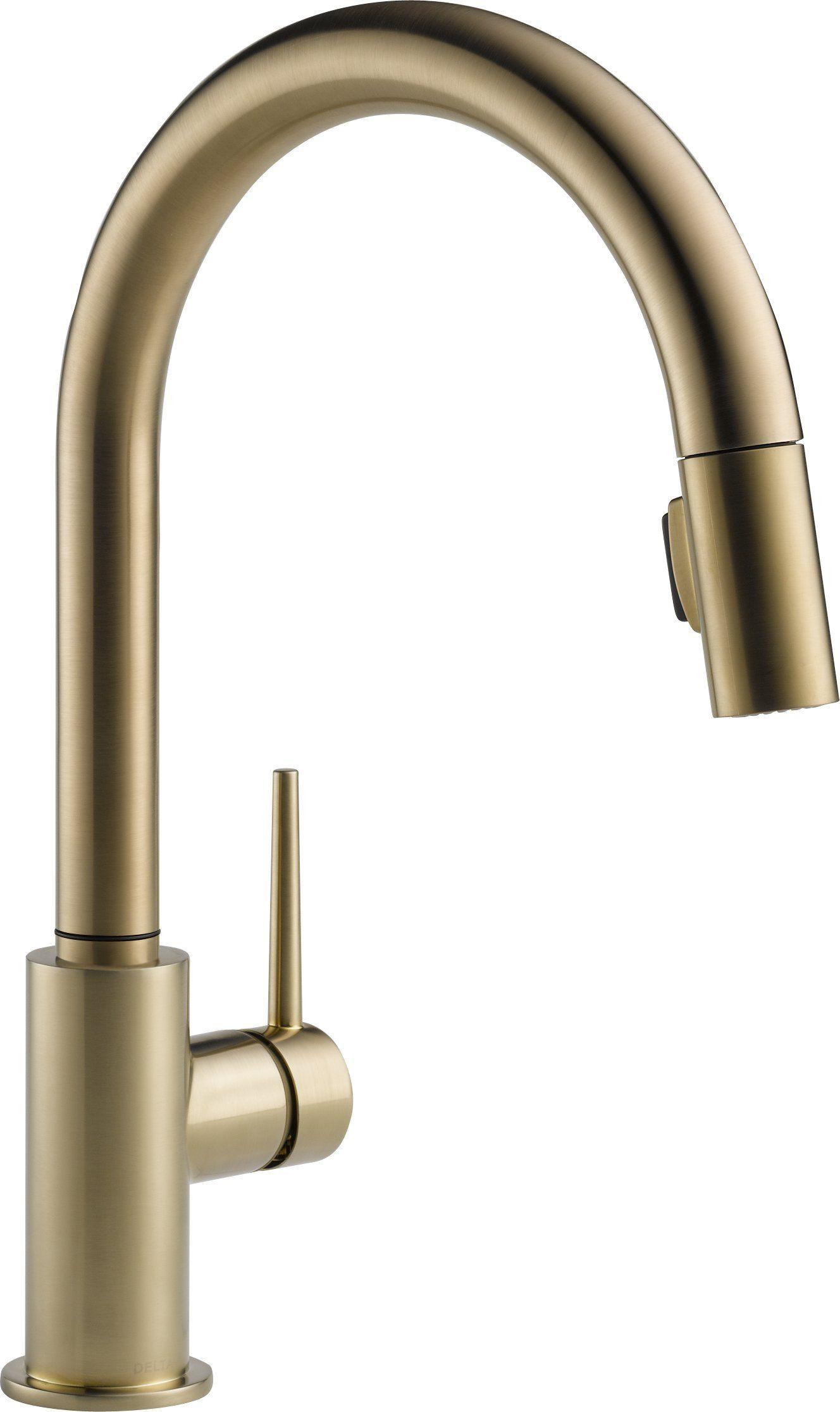 Delta 9159-CZ-DST Single Handle Pull-Down Kitchen Faucet, Champagne ...