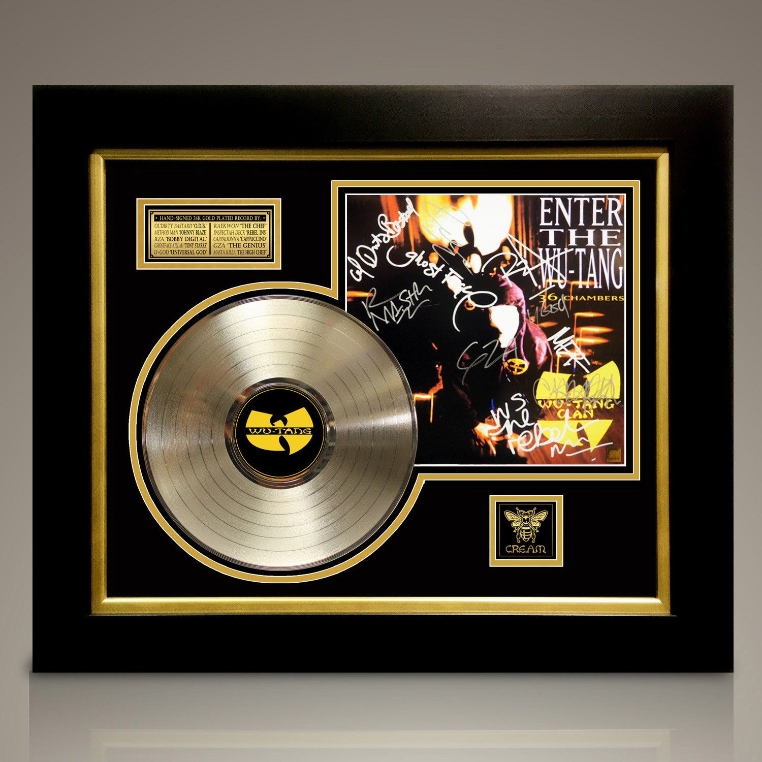 Wu Tang Clan 36 Chambers Signed 24k Gold Plated Record Custom Frame Wu Tang Clan Wu Tang Custom Framing