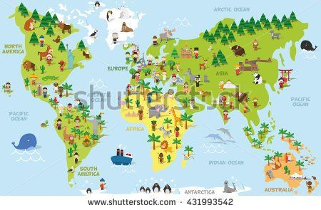 Funny cartoon world map with children of different nationalities buy cartoon world map by on graphicriver funny cartoon world map with kids of different nationalities traditional animals of all the continents and oceans gumiabroncs Choice Image