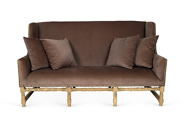 Vintage High Back Velvet Sofa In Taupe Note The Turned - Taupe High Back Sofa