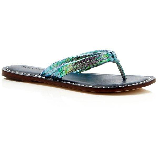 daa7b5f1de05 Bernardo Miami Snake-Print Thong Sandals ( 130) ❤ liked on Polyvore  featuring shoes