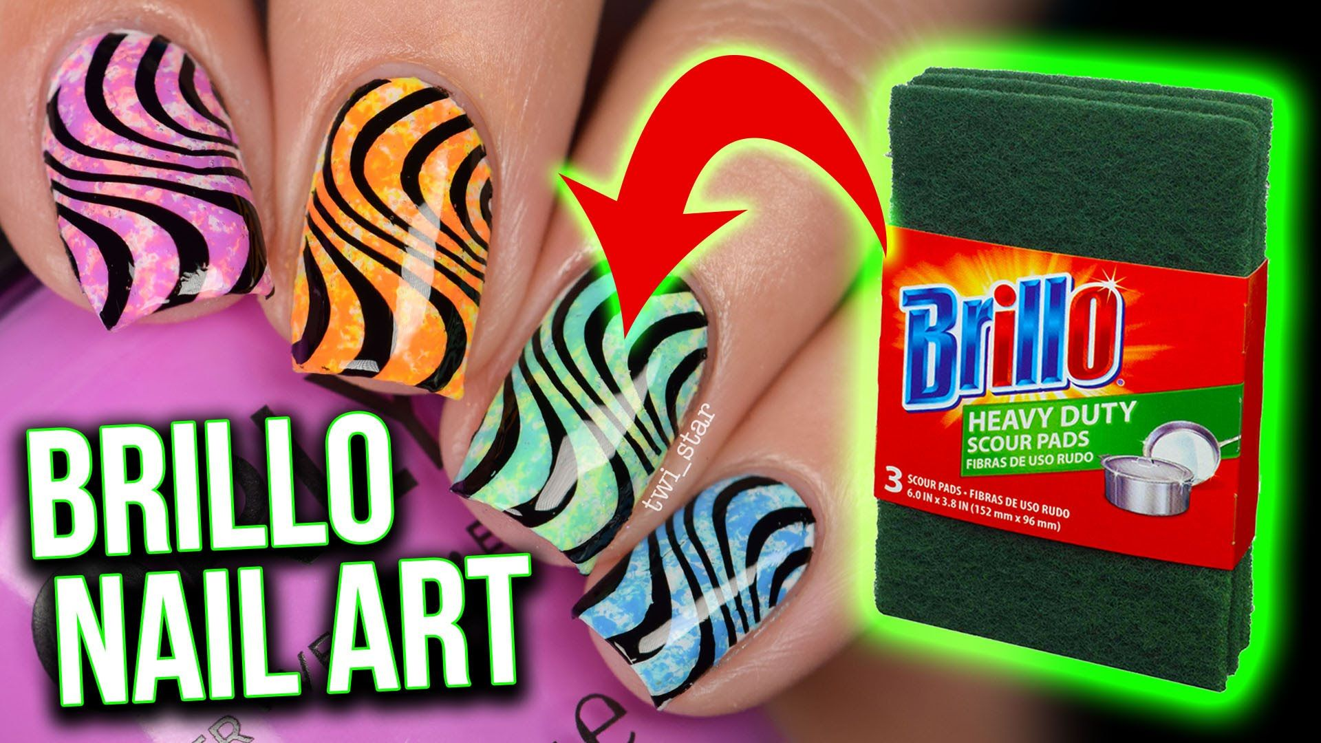 EASY Brillo Pad Nail Art HACK?! For Beginners! with bonus stamping ...