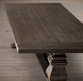 Salvaged Wood Trestle Extension Dining Tables Salvaged Brown 36 Wide Hoping For Narrower Rustic Dining Room Table Extension Dining Table Dining Table