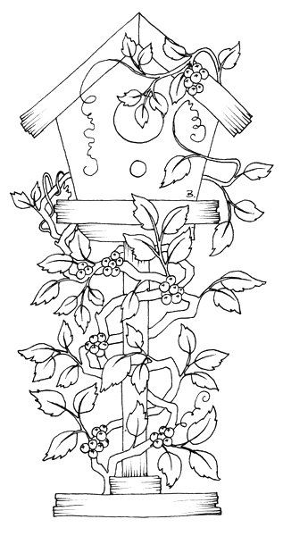 free printable birdhouse coloring pages | Beccy's Place: Birdhouse with Vines | Digital Stamps and ...
