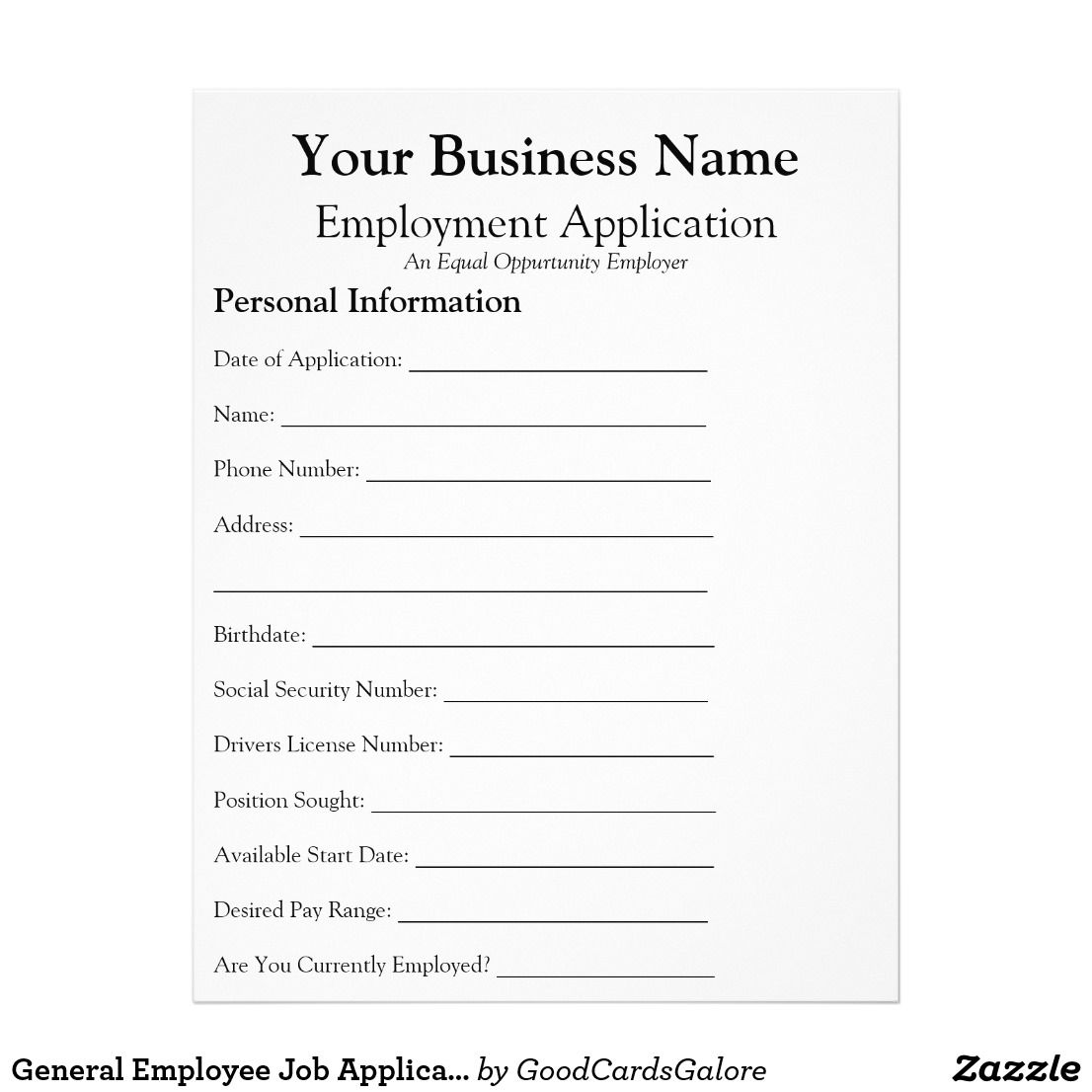 general employee job application form business flyer gift ideas