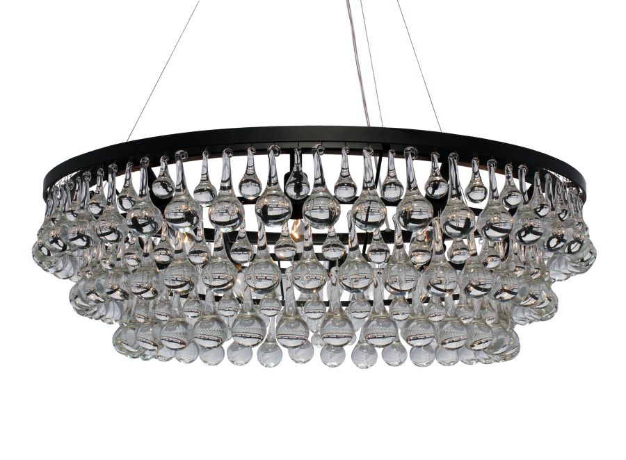 Celeste Dark Antique Bronze Glass Drop Crystal Chandelier Light Up - Chandelier drop crystals