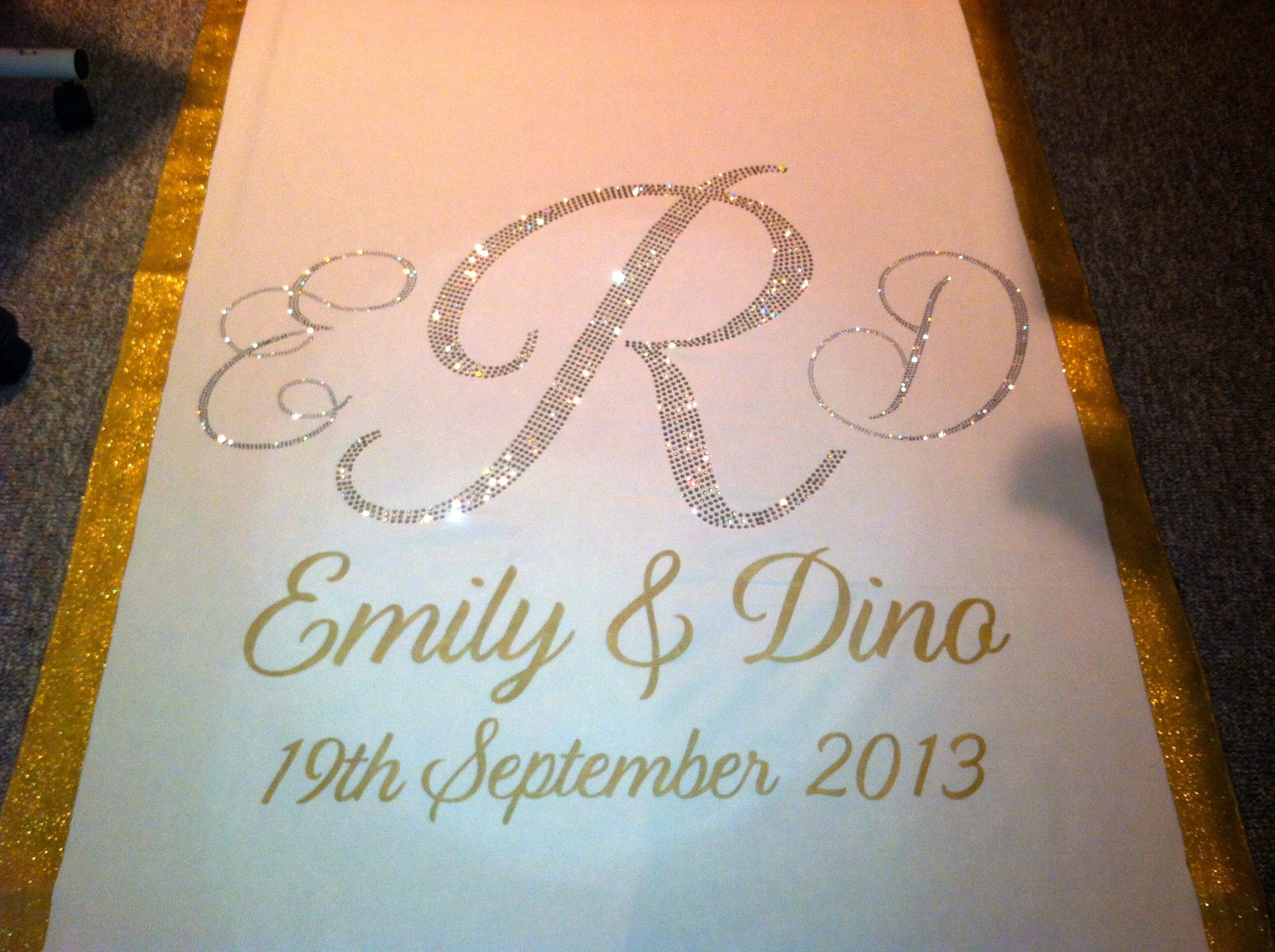 Gold, silver, and crystal wedding aisle runner by www ...