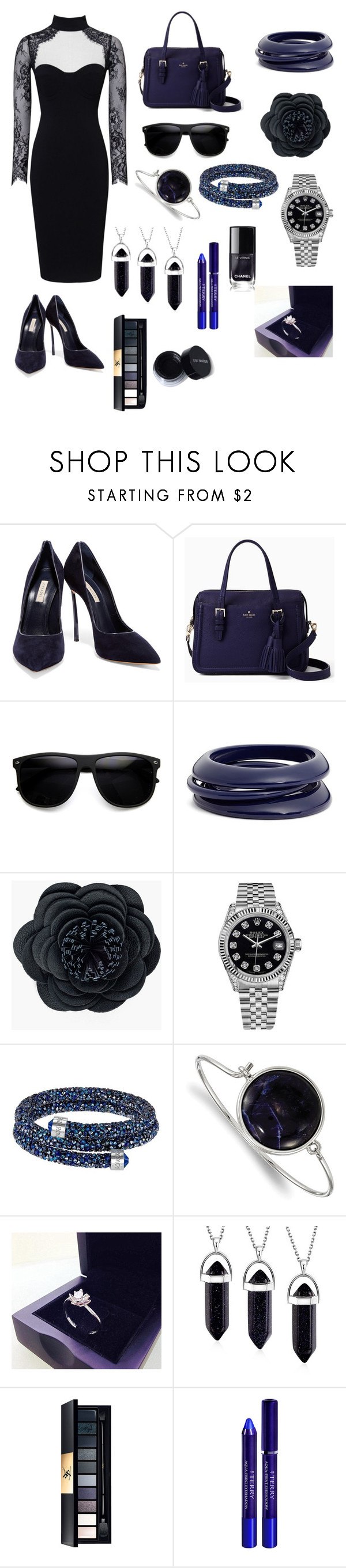 """The Blue Dress"" by giulia-ostara-re ❤ liked on Polyvore featuring Casadei, Kate Spade, ZeroUV, ZENZii, Chico's, Rolex, Swarovski, 1928 and By Terry"