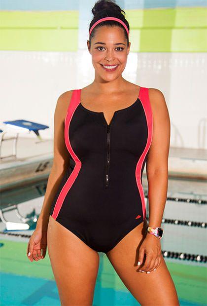 6079c27bd6cad Xtra Life® Lycra® Aquabelle Coral Zip Front Plus Size Swimsuit ...