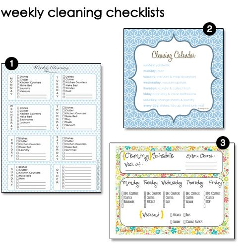 A list of links to organizing printables for house cleaning, menu - sample cleaning schedule template