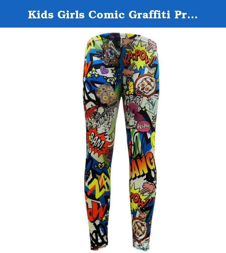 KIDS GIRLS COMIC GRAFFITI PRINT LEGGING SKATER MIDI DRESS CROP TOP SKIRT 2-13 Yr