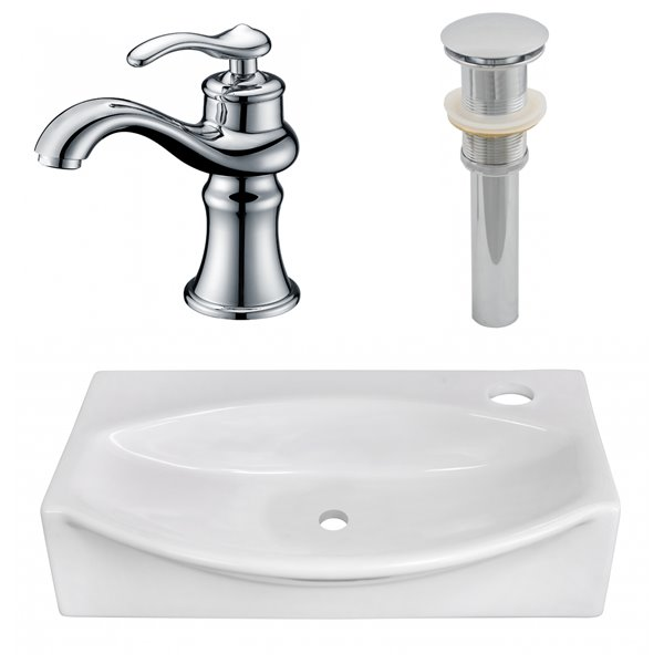 American Imaginations Above Counter Vessel Set 16 5 X 30 5 White Ceramic Rona Wall Mounted Bathroom Sinks Faucet Sink