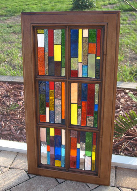 Stained Glass Mosaic Window Wood Vertiglo B By Artfulsalvage 175 00