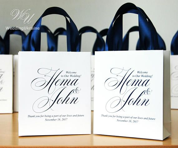 35 Wedding Welcome Bags With Navy Blue Satin Ribbon Hadles Your