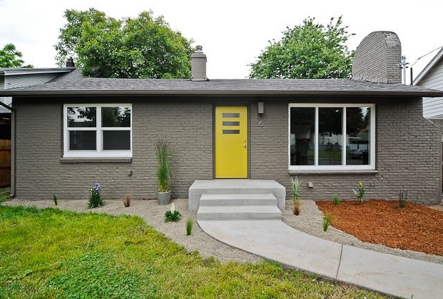 Stained bricks yellow door mid century ranch mid for Modern yellow houses