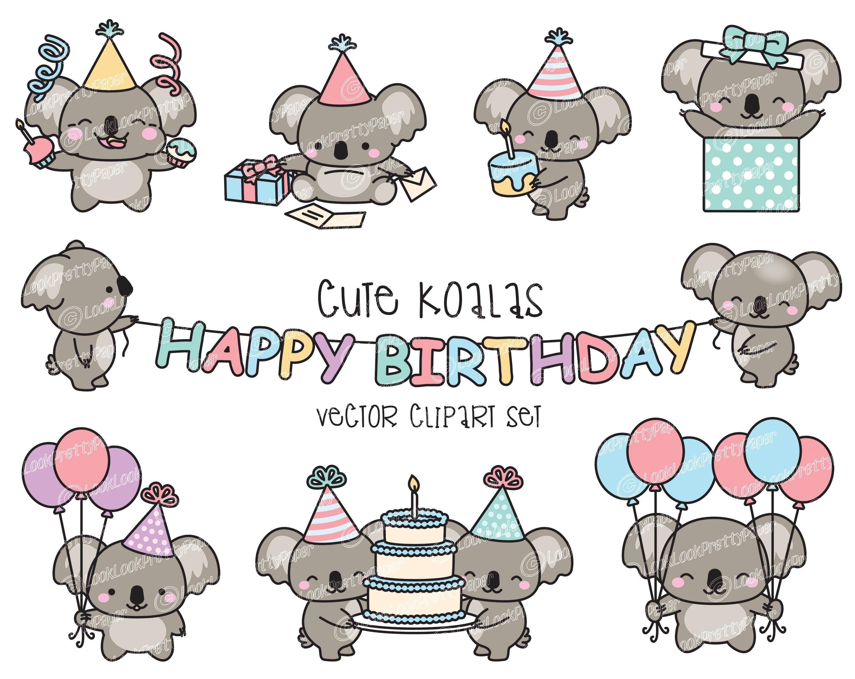 Premium Vector Clipart Kawaii Birthday Koalas Cute Etsy Koalas Koala Cute Cartoon Wallpaper Cute Cartoon Wallpapers