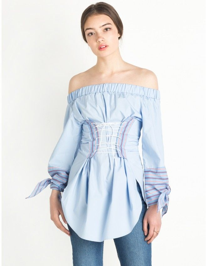 2fc5c226034cb Corset Tie Off The Shoulder Top